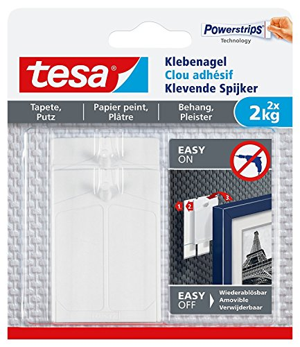Tesa Lot de clous adhésifs pour papier peint et plâtre, puissant, 2 kg / 3er Pack = 6 Nägel