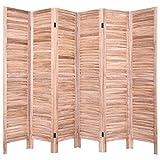 COSTWAY 6tlg. Paravent Trennwand Raumteiler Spanische Wand Sichtschutz Windschutz Wandschirm Holz Faltbar