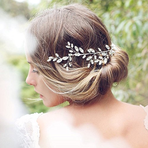 Aukmla Krone für Brautjungfern und Blumenmädchen, Hochzeit, mit Swarovskikristallen, Haarschmuck, funkelnd, Haarkranz - 3