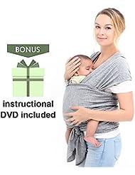 Écharpe porte-bébé en coton naturel, Écharpe de portage, Élégant et Comfortable, Gris