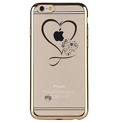 iPhone 7 Custodia Sveglio, Soft TPU Gel Cover per iPhone 7, MAOOY Shell Placcatura Edge in Lucido di Cristallo di Scintillio Strass Shock Absorption Protettiva Trasparente Ultra Sottile Chic Clear Bum Gold Heart Amore