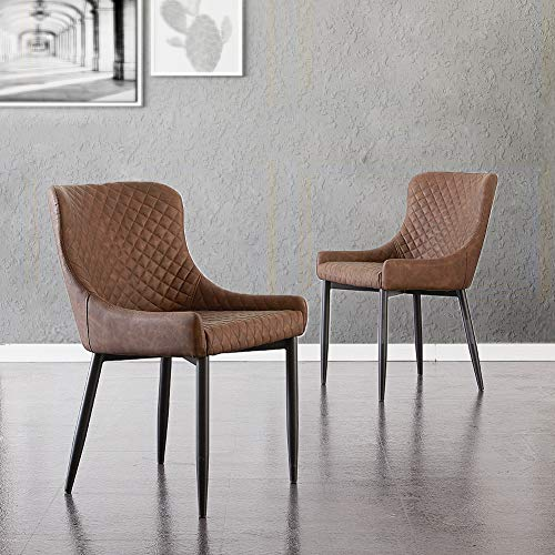 TUKAILAI 2PCS Retro Brown Faux Leather Dining Chairs Upholstered Chairs Reception Chairs Restaurant Chairs Meeting Room Chairs Set of 2 Chairs with Backrest and Metal Legs