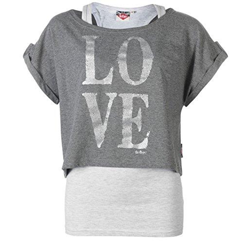 Lee Cooper Donna Manica Corta T Shirt Due Strati Maglietta Girocollo Canotta Top Char M/Ash M 8 (XS)