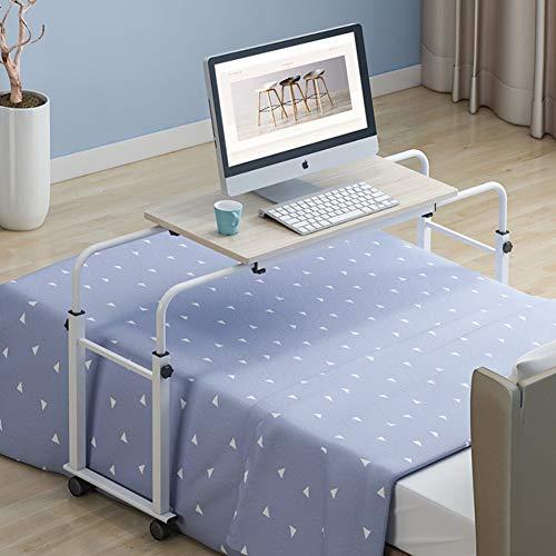 QYN Höhenverstellbarer Überbetttisch, Laptop Cart Computer Tisch Essen Tablett Schreibtisch Rolling Medical Tisch Aktualisiert i 80x40cm(31x16inch) -