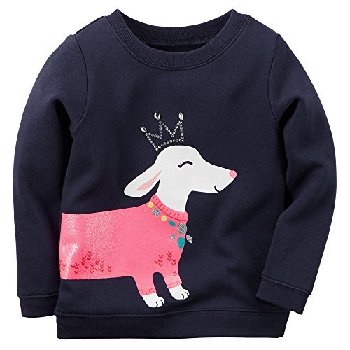 Carter 's Girl L/S Princess Hund Sparkle Pullover; Marine, 24Monate - Carters Pullover