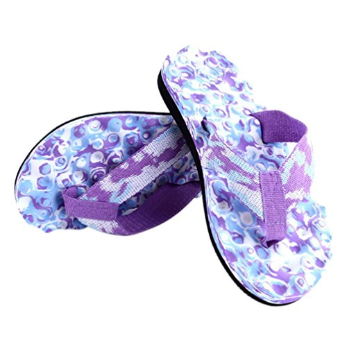 SandalenHonestyi Frauen Sommer Flip Flops Schuhe Sandalen Slipper Indoor & Outdoor Hausschuhe Flache Mode Schuhe Leder Flach Boden Hausschuhe Bequeme Schuhe (38, Lila) (Schuhe On Kleid Slip Jungen)