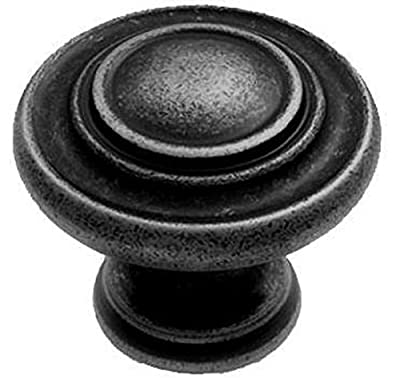 Traditional Pattern Cabinet Door Knob Handle 34mm Diameter - Pewter Finish