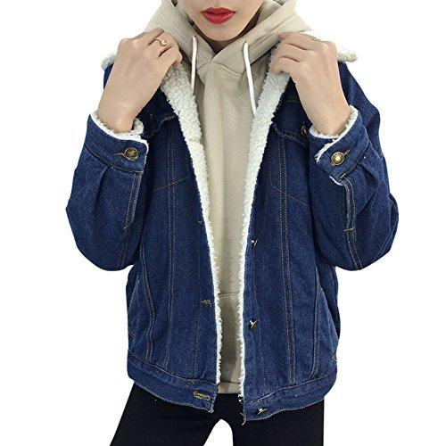 Jeansjacke Damen Warm Mädchen Winterjacken Übergangsjacken Denim Verdicken Jacken Locker Mit Taschen Casual Outerwear Dunkelblau S