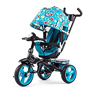 GSDZSY - 4 IN 1 Children Kids Tricycle With UV Protection Awning And Detachable Push Rod, Rotating Seat Baby Can Sit Or Half Lying, 1-6 Years Old   5