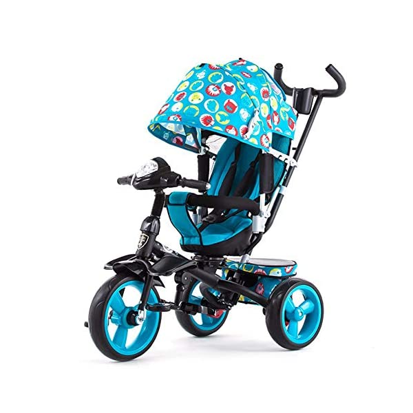 GSDZSY - 4 IN 1 Children Kids Tricycle With UV Protection Awning And Detachable Push Rod, Rotating Seat Baby Can Sit Or Half Lying, 1-6 Years Old GSDZSY ❀ MATERIAL : High carbon steel + ABS + rubber wheel, suitable for children from 1 month to 6 years old, maximum load 30 kg ❀ FEATURES : The push rod can be adjusted in height, the seat can be rotated 360, the backrest can be adjusted, the baby can sit or recline; the adjustable umbrella can be used for different weather conditions ❀ PERFORMANCE : high carbon steel frame, strong and strong bearing capacity; non-inflatable rubber wheel, suitable for all kinds of road conditions, good shock absorption, seat with breathable fabric, baby ride more comfortable 1