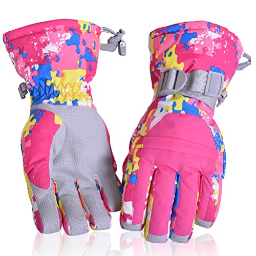 HUO ZAO Super Warm Full Waterproof anti-skid Winter Snow Ski Gloves with pocket wrist-band Anti-lost button for Woman Warm Winter Outdoor Cycling Snowmobile(Pink Camouflage)M