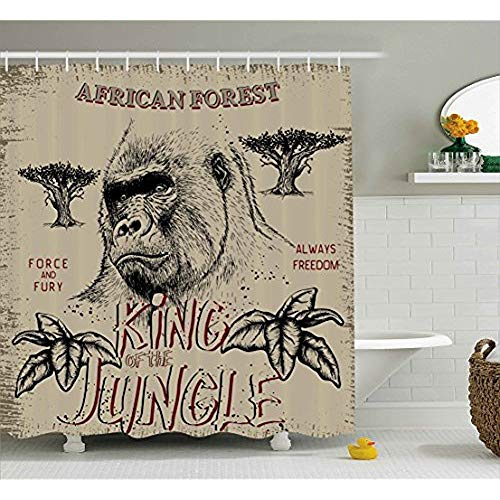 Wild Duschvorhang von, Vintage Label mit Gorilla König des Dschungels Safari Abenteuer Kraft Abbildung, Stoff Badezimmer eingerichtet mit Haken, Braun und Grau 72