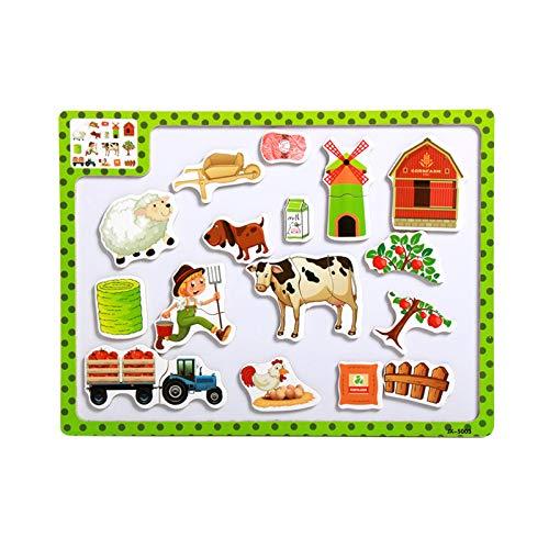 Toy Magnetkarten Vielzahl Von Optionalen Holzpuzzle Bord Kinder Früherziehung Lernspielzeug 3 Bauernhof Baby Spielzeug Ab Monate Monaten Kinder Jahren Mädchen Junge (Minecraft-bauernhof)