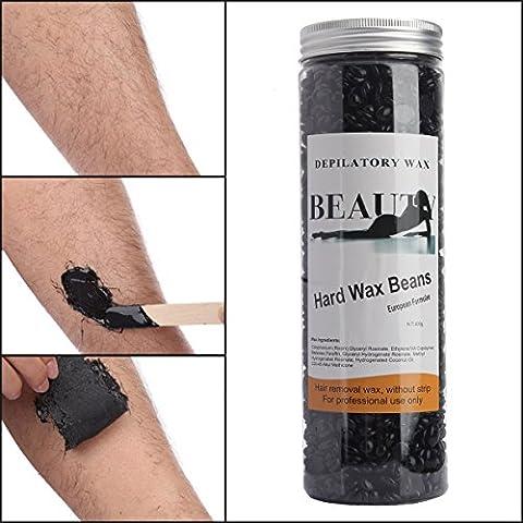 Bonjanvye Depilatory Hard Wax Beans Professional Striptless Hair Removal Wax Beads 400g Black