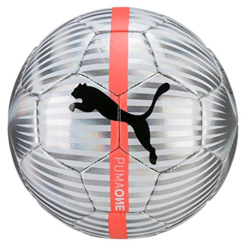 PUMA One Chrome Ball Fußball, Puma White-Silver-Puma Black-Fiery Coral, Mini (Ball Fußball Puma)