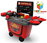 #10: Toys Bhoomi 2 in 1 Push Cart Tools Workbench Toy Playset with Easy Storage Roller Case - 28 Piece