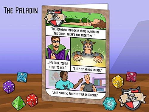Geek Humour Grußkarte. Fantasy RPG Parodie Thema basiert auf der Paladin Klasse