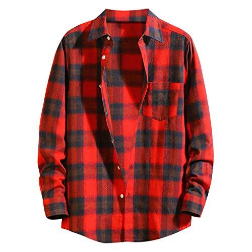 VANMO Freizeitkleidung für Herren,Sommer Herbst Herren Sommer Mode Hemden Casual Langarm Lose Beiläufige Bluse EIN Kariertes Hemd,Das Jeder Junge Verdient männliche Freunde.