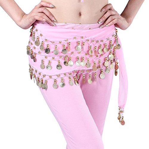 Tap Kostüm Dance - Damen Bauchtanz Hüfttuch Münztuch Münzgürtel Kostüm Hip Scarf Colorful Samba Belly Dance (rosa)