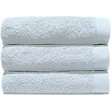 Home Basic - Juego de 3 toallas para tocador, 33 x 50 cm, lavabo, 50 x 100 cm y baño, 100 x 150 cm, color blanco