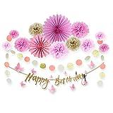 Easy Joy Decorazione Rosa per Compleanno, Banner Happy Birthday con Farfalla di Carta, Deco per Festa, Compleanno, Decorazione Interna, Rosa