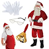 L/XL Ultimate Regal Plush Santa Claus Father Christmas Suit Outfit Full Costume with Accessories Chest up to 40-48 Costume Glasses Belly Stuffer Bell Gloves Belt Boot Top Covers Beard Wig Hat Executive Professional School Grotto use by Fancy Dress VIP