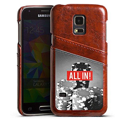 DeinDesign Samsung Galaxy S5 Mini Lederhülle Maroon Leder Case Leder Handyhülle All In Poker Chips -