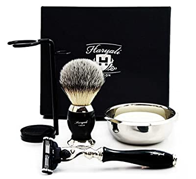 Premium Shaving Kit Gift for Men(Gillette Mach 3 razor,Brush,Bowl,Stand)Branded Box
