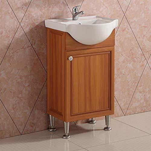 AICA Waschplatz gäste wc Waschtisch mit Unterschrank Badmöbel Set freistehend mit 4 einstellbare Basis Teakholz