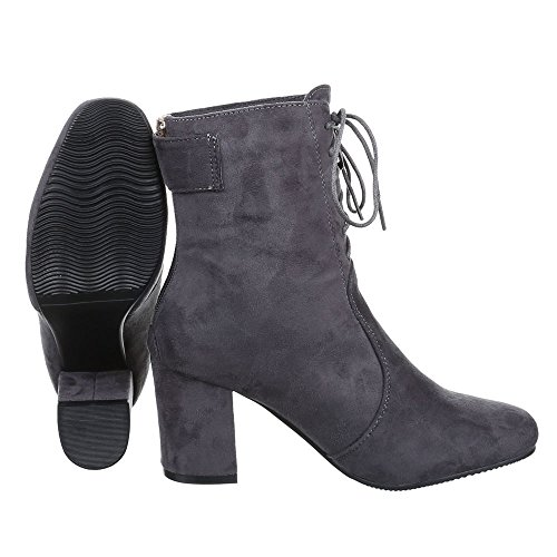 Damen Schuhe Moderne Schlupfstiefel Reißverschluss Klassische Stiefeletten Stiefeletten Pump Grau