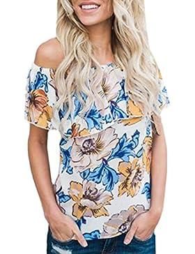 OverDose Las mujeres de la manera de blusa impresa floral floral del hombro rematan la camiseta