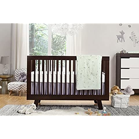Babyletto Tranquil Woods 5-Piece Crib Set with Sheet Skirt, Play Blanket, Pad Cover and Wall Decal by babyletto