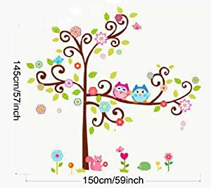 pvc hibou decal stickers muraux repositionnables enfant arbre 155cm h 145cm w grand amazon. Black Bedroom Furniture Sets. Home Design Ideas