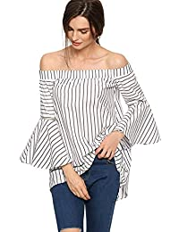 StyleDome Mujer Camiseta Blusa Playa Rayas Sin Tirantes Mangas Largas Volantes Hombros Descubiertos