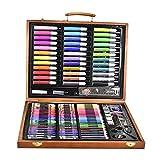 AOLVO - Juego de 150 piezas de dibujo y pintura para niños, incluye estuche de madera, lápices de colores y lápices de colores, lápices de colores, lápices de cera, barras de cera de color, pasteles de colores