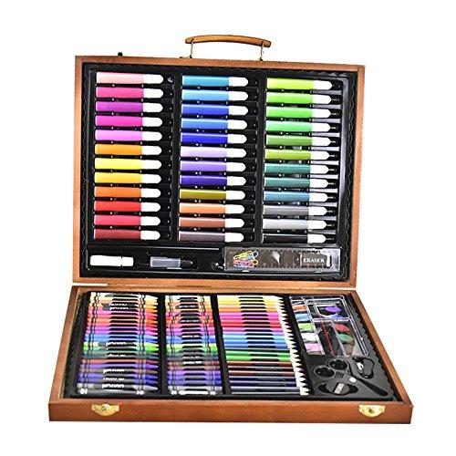 AOLVO Deluxe Art Set 150Stück Künstler Zeichnen/Malen Set Geschenk für Kinder Holz Case inkl. Watercolor Stifte, farbige Bleistifte, Kreiden, Farbe Wachs Sticks, farbige Kuchen (Sie Wars Star Zeichnen, Können)