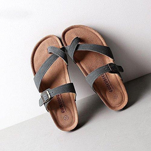 Estate Sandali Pantofole piatte pattinate in spiaggia antiscivolo pantofole femminili Donna in pelle pattini freddi (grigio / beige / marrone) Colore / formato facoltativo Grigio