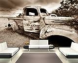 Vlies Fototapete - Alter Rustikaler Truck - sephia - sepia - 310x200 cm - inklusive Kleister - Tapetenkleister – Bild auf Tapete – Bildtapete – Foto auf Tapeten – Wand – Wandtapete – Vliestapete – Wanddeko - Design