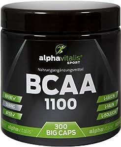 BCAA 1100 BIG CAPS – 300 BCAA Kapseln – 1100 mg + B6 – glutenfrei – laktosefrei – alphavitalis SPORT® – essentielle Aminosäuren / hochdosierte BCAAs für Muskelaufbau und Regeneration