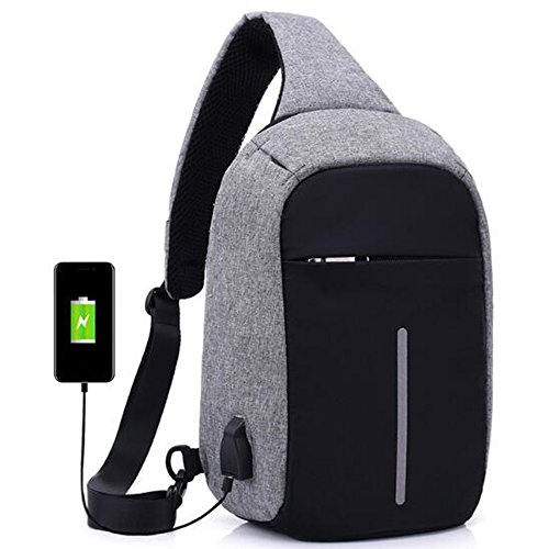 Globalma multifunzionale anti furto Sling bag con porta di ricarica USB, spalla croce corpo zaino per ciclismo, trekking, outdoor Travel, Black Grey