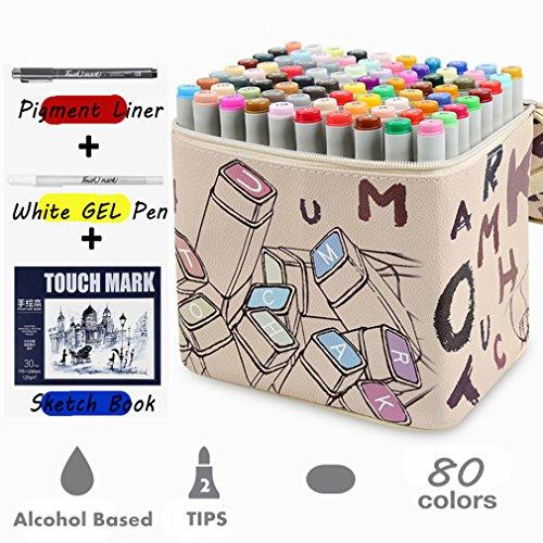 80 verschiedene Farben Kunst Zeichnen Marker Pen, Dual Tip Twin Marker Textmarker mit, der Fall für Sketch Animation Malen Färben etwas Kritzeln unterstreichung (KAUFEN 1 GET 5 - Weiß)