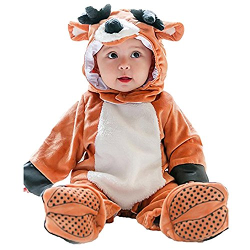 Janly Baby Halloween Tier Kostüm Hooded Bodysuit Footies Spielanzug Onesie Outfit (Größe: 73CM, Rentier)