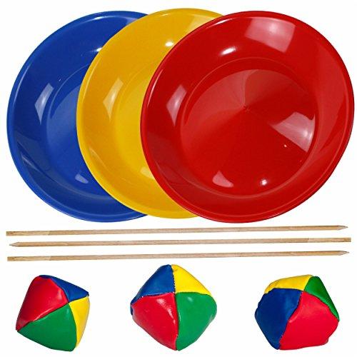 SchwabMarken Jonglierteller/Jonglierset / Spieleset/Geschicklichkeitsspiel mit 3 Jongliertellern 3 Stäben und 3 Jonglierbällen