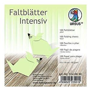 Ursus 3146830 - Hojas Plegables (100 Unidades, 65 g/m², 10 x 10 cm, para Artistas de Origami Grandes y pequeños, teñidas), Color Verde Menta