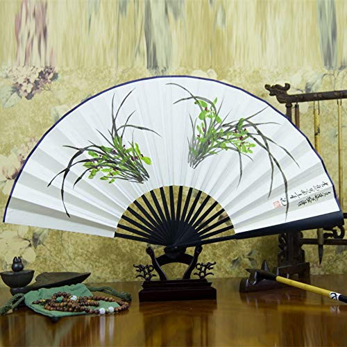 Orchid Black Kostüm - XIAOHAIZI Handklappventilator,Hand Painted Orchid Black Handle Summer Creative Chinese Suitable for Wall Decoration Folding Fan Home Decorations
