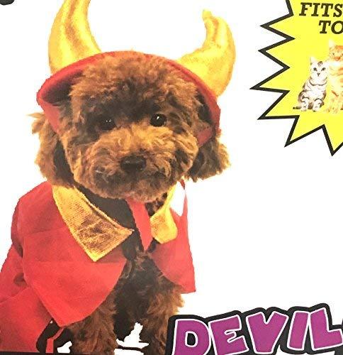 Pet Hund Katze Halloween-Kostüm Teufel Rot, Verstellbar Cape und Gold Hörnern (Gold Hörner Kostüm)