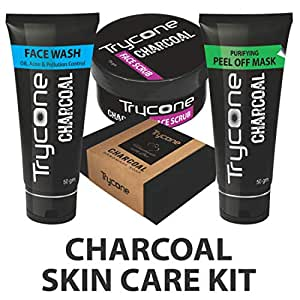 Trycone Combo of Charcoal Peel-off Mask, Face Wash, Scrub and Soap for Men and Women