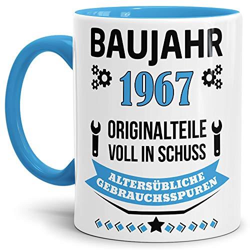 Tassendruck Geburtstags-Tasse Baujahr 1967' Innen & Henkel Hellblau/Kaffee-Tasse/Mug / Cup/Becher /...