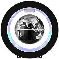 Bola flotante de 10 cm con luces LED magnéticas, globo flotante con botón de encendido, mapa del mundo para decoración de escritorio, globo educativo para niños, negro