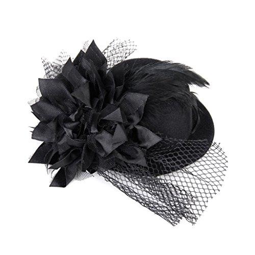SODIAL (R) mujeres adornadas con presilla de pelo de las flores de primavera Punk Burlesque Mini sombrero de copa negro